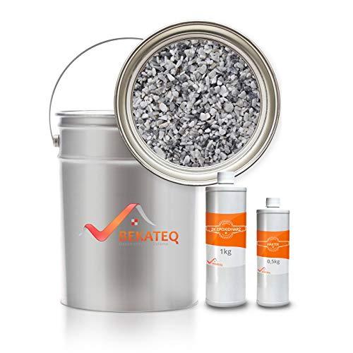 Steinteppich Set Epoxidharz in Grau - 25kg Grigio Bardiglio inkl. 1,5kg EP Bindemittel, bis 2,5qm