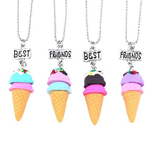 Toyvian Mejor amigo collar conjunto helado colgante collar bff collares con palabras de grabado para mujeres niñas navidad cumpleaños regalo 4 piezas
