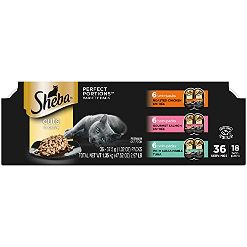 SHEBA Wet Cat Food Cuts in Gravy Roasted Chicken Entrée and Gourmet Salmon Entrée and Signature Tuna Entrée Multipack, (36) 2.6 oz. PERFECT PORTIONS Twin-Pack Trays