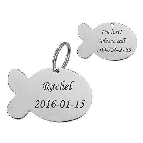 Stainless Steel Pet ID Tags Dog Tags Personalized & Engraved Custom Identification Tag Engraved Front & Back Dog Collar Tag Fish Shape