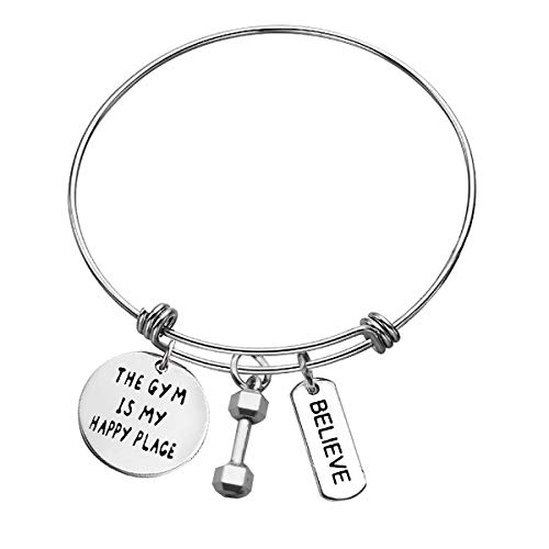 Workout Gym Bracelet Dumbbell Charm Bangle Funny Gym Workout Jewelry Fitness Trainer Bracelet Gifts for Women Men Bodybuilding Jewelry The Gym is My Happy Place/Believe Inspirational Fitness Gifts