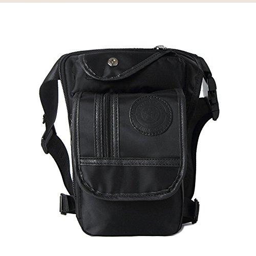 Modelshow Leinwand Multifunktions Beintaschen Gürteltasche Taillengürtel mit Tasche Hüfttasche für Motorrad Fahrrad Radfahren (schwarz)