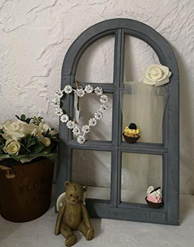 Casa-Crear Fenster Deko Fensterrahmen Sprossenfenster grau 30x49cm Holz Shabby Vintage Landhaus