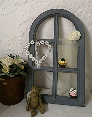 Fenster Deko Fensterrahmen Sprossenfenster grau 30x49cm Holz Shabby Vintage Landhaus
