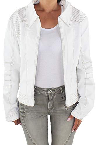 Sotala Chaqueta vaquera para mujer, chaqueta corta, vaquera, elástica, color crema y blanco a 44