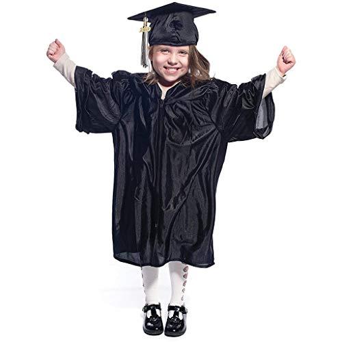 SOthread(TM) Children Kids Student 2020 Preschool Primary School and Kindergarten Graduation Gown with Tassel Cap (Black, 4-6 Age)