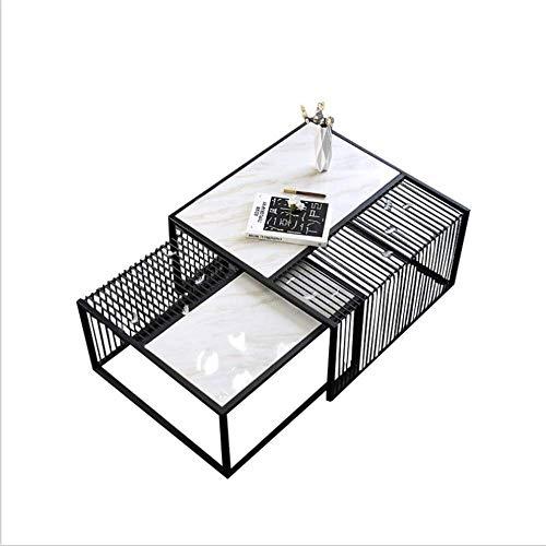 FTFTO Wohnaccessoires Minimalistischer Couchtisch Italienischer Stil Wohnzimmer Beistelltisch Kombination Eisen Marmor Couchtisch Modern und einfach