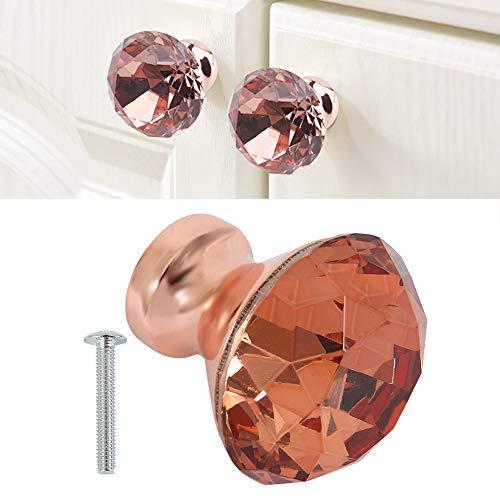 10 pomos de muebles de cristal de color oro rosa, con tornillo de 30 mm, pomos de puerta, cajón, armario para recepción, oficina, maletero, cajón,