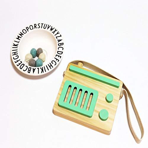 Versier LKU Houten radio recorder muur opknoping decoraties baby kinderkamer decoratie houten speelgoed, groene radio