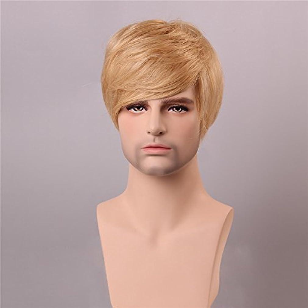 理解するヘア埋め込むYZUEYT ブロンドの男性短いモノラルトップの人間の髪のかつら男性のヴァージンレミーキャップレスサイドバング YZUEYT (Size : One size)