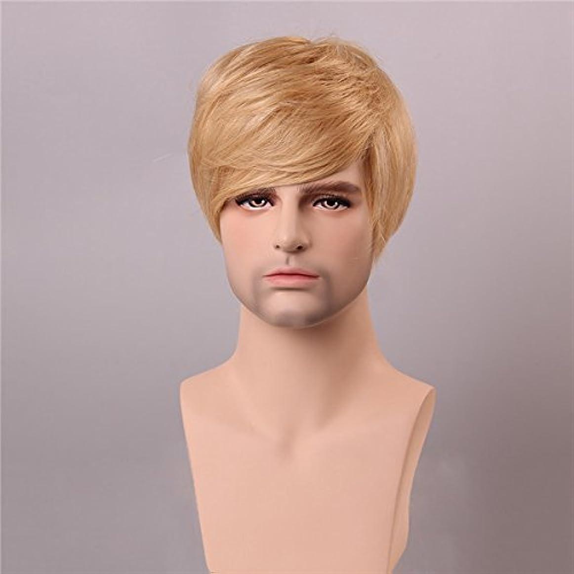 腰マンモスウガンダYZUEYT ブロンドの男性短いモノラルトップの人間の髪のかつら男性のヴァージンレミーキャップレスサイドバング YZUEYT (Size : One size)