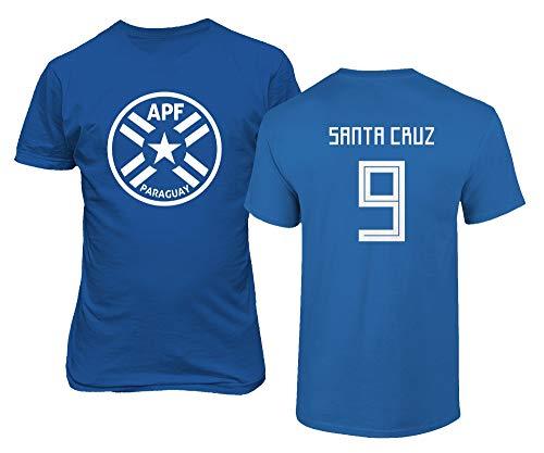 BTA Apparel Paraguay Fußball #9 Roque Santa Cruz Jersey Stil Herren T-Shirt (Königsblau, L)