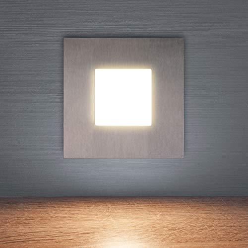 6er SET LED Treppenbeleuchtung 230V warmweiß 2,5W eckig quadratisch Treppenleuchte Wand Einbauleuchte Einbaustrahler Treppenlicht Flurleuchte Nachtlicht 6103