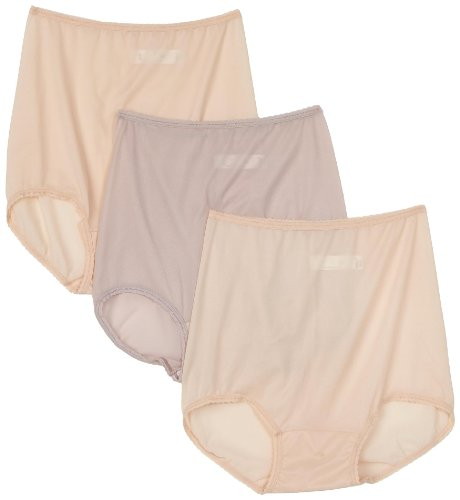 Bali Women's 3-Pack Skimp Skamp Brief Panties, 2 Mocha Mist/1 Rosewood, Size 10