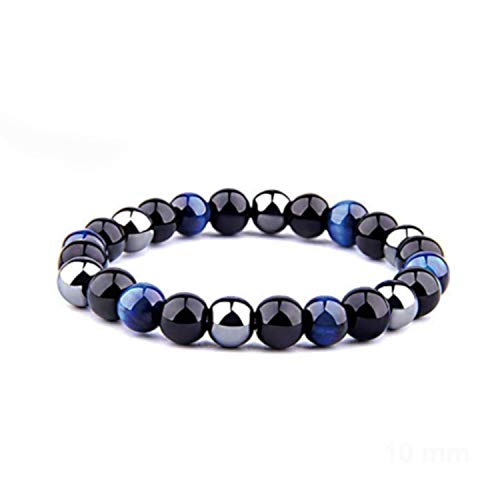 ARMONY Protection Bracelet, New French Brand Natural Stone 10 mm (0.39 inch) Bead Triple Protection Bracelet Tiger Eye Blue or Pink Black Obsidian and Hematite Velvet Pouch
