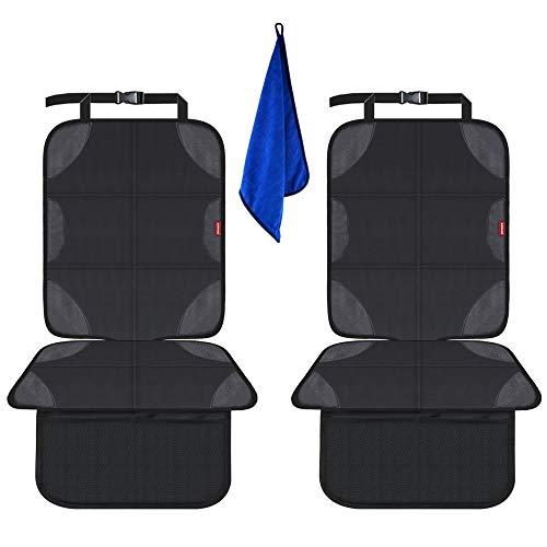 AEMIAO Autositzauflage Autositzschoner, 2 Stück Kindersitzunterlage Isofix Geeignet, rutschfest Sitzschutz Auto Kindersitz, Wasserabweisend Sitzschoner Auto Kindersitz mit Netztasche
