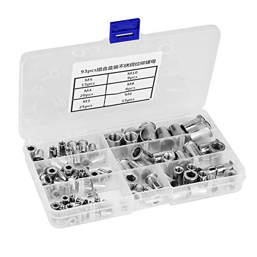 Wandisy 90Pcs Kit de Surtido de Tuercas de Remache roscado de Cabeza Plana roscada de Acero Inoxidable 304 - M3 M4 M5 M6 M8 M10