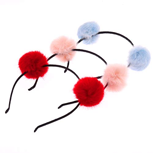Frcolor Furry Headband, Pom Pom Ball Cat Ear Headband for Halloween Christmas Party Birthday Cosplay, 3Pcs