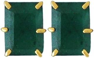 Lagu Bandhu 22k (916) Yellow Gold and Emerald Stud Earrings for Women