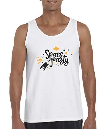 Druckerlebnis24 Tank Top - Camiseta de Tirantes para Hombre y Hombre, diseño de Nave Espacial con Estrellas Blanco XXL
