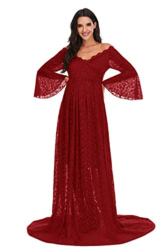 ZIUMUDY Lace Maternity Floral Off Shoulder Photography Gown Flared Long Sleeve Maxi Photo Shoot Wedding Dress (Burgundy, Medium)