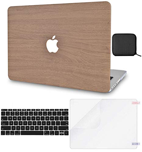 LuvCase 5in1 Laptop Case for MacBook Pro 16 Touch Bar (2020/2019) A2141 Leather Hard Shell Cover, Slim Sleeve, Pouch, Keyboard Cover & Screen Protector (Brown Wood)