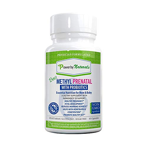 Power By Naturals - Best Methyl Prenatal Vitamins with Probiotics, l-methylfolate, Methylcobalamin (Active B12), Iron, Iodine - All Essential Nutrients for Healthy Mom and Baby -60-Caps-Dr Formulated