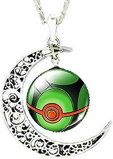 Legisdream Medalla de Joyas Colgantes Pokeballs Collar Verde Oscuro y Rojo y de Plata de la Luna Ideas del Regalo para Cua...