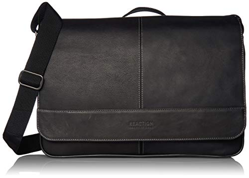Kenneth Cole Reaction Come Soon Colombian Leather Flapover 15.6' Laptop Travel Messenger Bag, Black, One Size