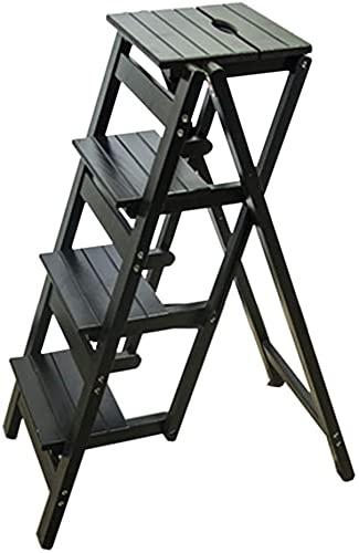 Taburetes de escalones Escalera de escalera de madera multifuncional para niños pequeños con 4 pasos para la biblioteca plegable de plegado de la biblioteca Pasos de la oficina de la cocina Max Cargar