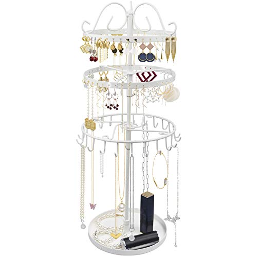 TANOSAN 3 Tiers Rotating Earring Necklace Organizer Holder, Exquisite Metal Jewelry Display Tower Stand Necklace Hanger - 23 Hangers for Bracelets, 88 Holes for Earrings, Tray for Rings