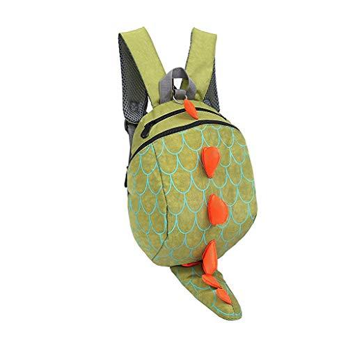 H.eternal Mochila con diseño de dinosaurio, regalo divertido para niños, loncheras, bolsa de transporte, mochila preescolar con arnés de seguridad, forro interior aislado (verde)