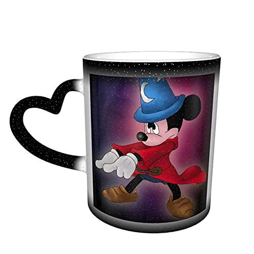 Taza de café con diseño de Mickey Minnie Danza de Mickey Tazas de té de cerámica que cambia de color, novedad para los amantes de la familia, amigos, oficina y hogar regalo