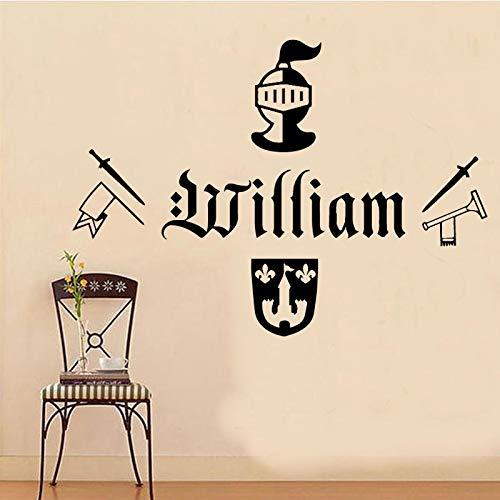Ajcwhml Ward, patrón de Arma, Nombre Personalizado, Sala de Estar, niño, Etiqueta de la Pared, decoración de la habitación, diseño de Pared, Vinilo 58x41 cm