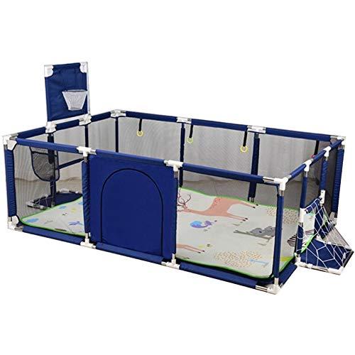 Recinzione da gioco per bambini, per gattonare, protezione per bambini, con cestino, rete da calcio, tappetino per gattonare, adatto per interni ed esterni, blu