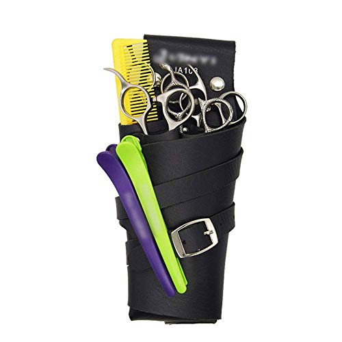 DFJU Estojo de Bolsa de tesoura com cinto para cabeleireiro Salão de cabeleireiro Estilista de Bolsa de estojo de Cintura Estilista de Bolsa de Cintura com cinto de Ombro (Cor: marrom)
