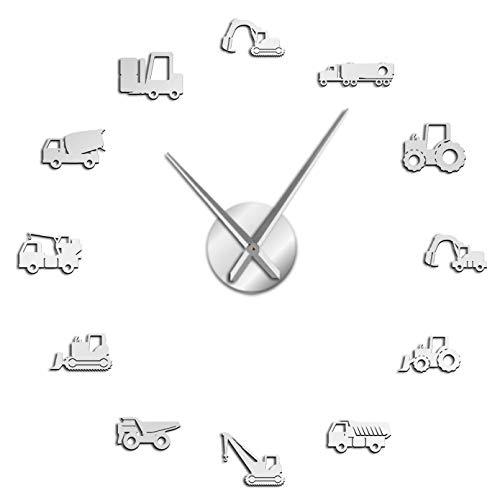 YQMJLF Reloj Pared DIY 3D Grande Excavadora Scoop Operador Equipo Pesado Máquina DIY Reloj Pared silencioso Gigante Construcción Oficina Arte Vehículos Trabajo Hombre Decoración Cuevas Plata