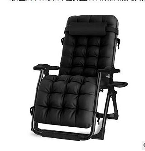 Lounge Chairs Sun Loungers Zero Gravity Chairs Adjustable Padded Lounger Chair with a Cup Holder, Soft & Comfortable, Supports Over 440lbs/200kg (BK-1PC)