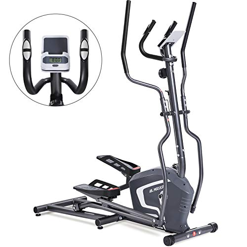 MaxKare Magnetic Elliptical Machine Trainer Smooth Quiet Driven with Front Flywheel/LCD...