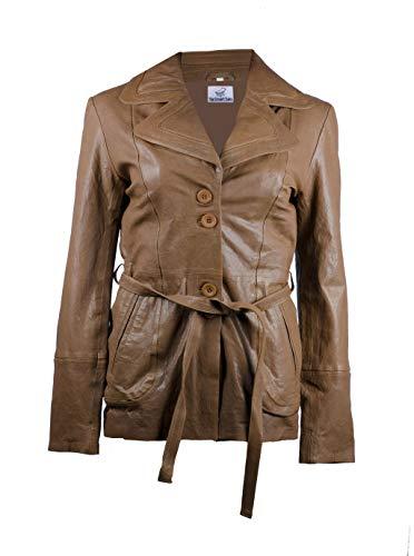 TheSmartSales Chaqueta de piel sintética de imitación de estilo de abrigo para mujer - Marrón de imitación a medida chaqueta de cuero - marrón - XXL