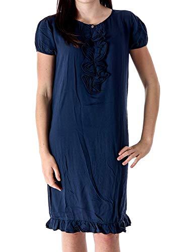 MANILA GRACE jurk shirtjurk zomerjurk college blauw ruches viscose J04464 - College