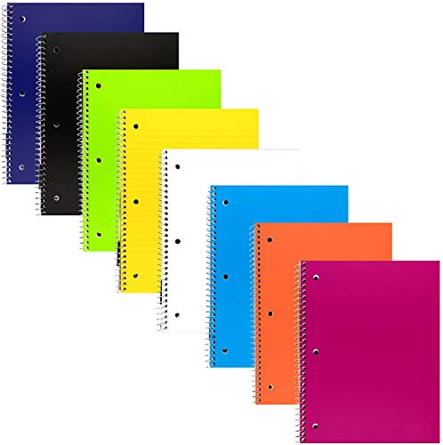 Emraw 1-Subject Poly Cover Spiral Notebook 70 Sheets Wide Ruled Wire Binding Meeting Notebook Durable Laminated Cover Assorted Color Wire Bound Small Notebook 3 Hole (8-Pack)