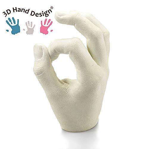 Lucky Hands - Juego de moldes 3D sin accesorios, huella de mano, escayola, idea de regalo para el día de la madre, 1 modelo, 5-12 Jahre