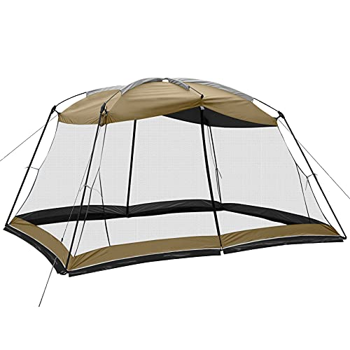 Superrella Screen House 13x9 Ft Canopy Tent Sun Shade Shelter Perfect for Outdoor Activities, Khaki