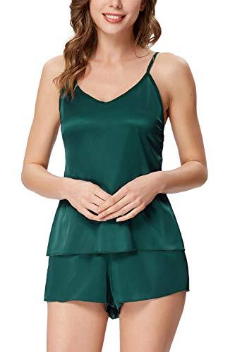 Zexxxy - Conjunto de pijama de satén para mujer Verde verde