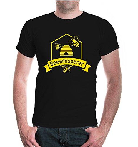 buXsbaum® Herren T-Shirt Beewhisperer | Bienenflüsterer Imker Biene Bienenzüchter | M, Schwarz