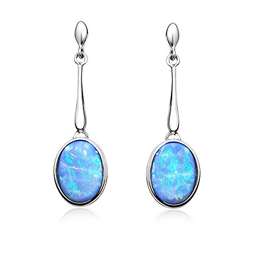 Paul Wright Created Opal Drop Earrings, 925 Sterling Silver, Vibrant Blue Colour