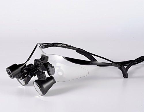 Songzi Optics (2.5X,3X,3.5X Optional) Black Frame Binocular Dental Loupes Surgical Loupes & High Brightness Headlight (Working Distance :(360-460 mm) R, Magnification:3.5X)