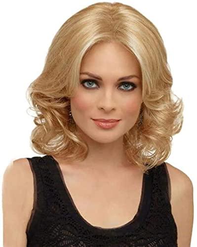 Peluca de mujer de mediana edad pelo rizado corto flequillo sintético encantador oro dorado resistente al calor de alta calidad natural