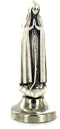 Ferrari & Arrighetti Estatua Virgen de Fátima de Metal Plateado con imán - 5 cm (Paquete de 5 Piezas)